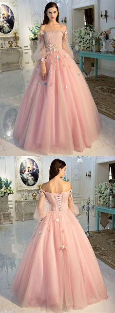 Princess Off The Shoulder Long Sleeve Applique Lace Up Ball Gown Dress