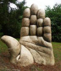 Hand sculpture at Gregynog Hall