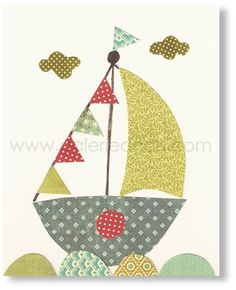 Nursery Art Kids Room Decor Boat Sailing Away 8x10 by GalerieAnais, $14.00