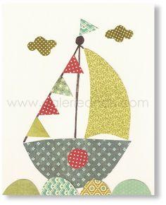 Nursery Art Kids Room Decor Boat Sailing Away 8x10 by GalerieAnais, $14.00