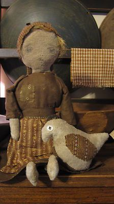 Fat Hen Farm Primitive Rag Doll Early Brown Calico | eBay