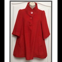 Forever 21 Red Swing Coat Jacket FOREVER 21 RED SWING CAPE COAT JACKET SIZE: SMALL ~ SHELL: 30% WOOL 70% ACRYLIC-LINING 100% POLYESTER GENTLY PRE-OWNWD ~ EXCELLENT ~ BUNDLE & SAVE ~ SO PRETTY!!  HOLD TRADES CLOSET  Forever 21 Jackets & Coats Pea Coats