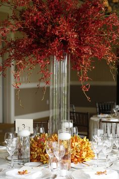 Lush centerpiece in Clear Vase with Red James Storie Orchids and Vanda Orchids at the bottom of the vase