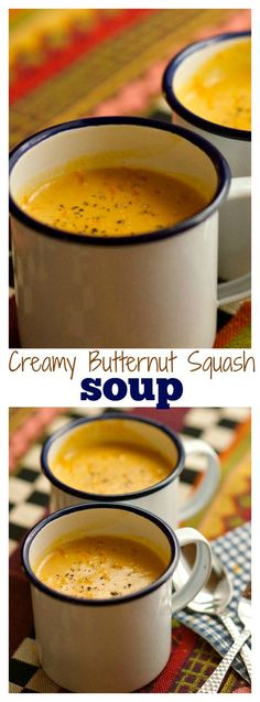 Butternut Squash Soup Creamy Butternut Squash Soup is the perfect soup, topped with fresh orange zest, to share with a friend or neighbor!Creamy Butternut Squash Soup is the perfect soup, topped with fresh orange zest, to share with a friend or neighbor! Baked Butternut Squash, Creamy Butternut Squash Soup Recipe, Cooking Recipes, Healthy Recipes, Vitamix Soup Recipes, Creamy Soup Recipes, Cooking Tips, Soup And Sandwich, Soups And Stews