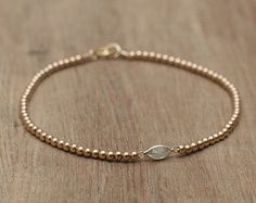 Delicate ankle bracelet beaded 14K solid gold beads by Bloomarine