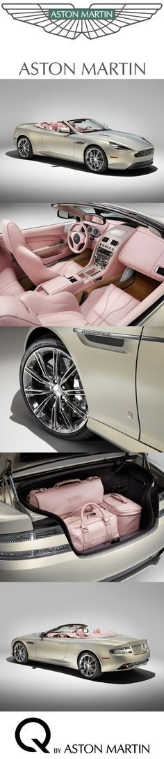 A bespoke commission to be showcased at Pebble Beach® Automotive Week 2014. This luxurious Q DB9 Volante is inspired by fashion and given a distinct character by its special blush pearl leather interior paired with a coolness of Piano Ice Mocha seen on full waterfall with matching door grabs. Discover: http://www.astonmartin.com/en/q-by-aston-martin #AstonMartin #Cars