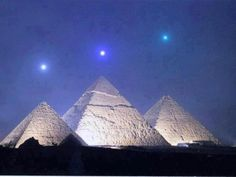 Image of planetary alignment over Giza Pyramids