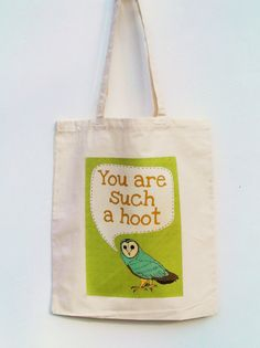 Hooting Owl canvas tote bag by Feltmountainstudios on Etsy, £5.00