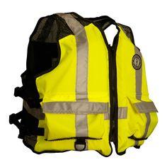 Mustang High Visibility Industrial Mesh Vest - SM/MED - Yellow/Black - https://www.boatpartsforless.com/shop/mustang-high-visibility-industrial-mesh-vest-smmed-yellowblack/