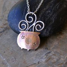 RESERVED for Holly  Witches Cauldron Copper and Sterling Silver Artisan Necklace Pendant Whimsical Smoke and Stars