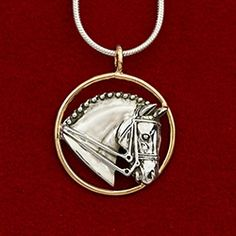 """This sterling silver head with a 14k gold circle measures 15/16"""" in diameter. Available on a 16"""", 18"""", or 20"""" sterling silver snake chain with lobster clasp closure. A great two tone look for the Dressage rider."""