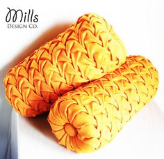 Made-To-Order 1960s Vintage Inspired Smocked Decorative Pillows Bolsters Orange