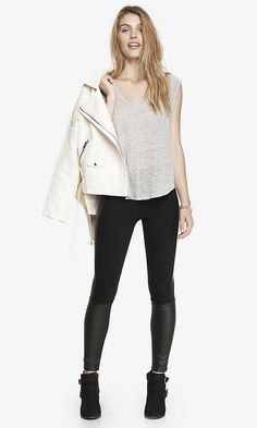 PONTE KNIT AND SCUBA ANKLE ZIP LEGGING | Express #express