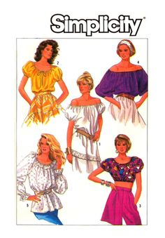 80s Simplicity 8081 Loose Fitting Boho Tops in by patternscentral