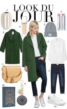 Look Du Jour: Well, sapiosexuell? Look Du Jour: Well, sapiosexuell? White shirt+dark boyfriend jeans+white sneakers+green wool coat+cam… – Coat of arms Beanie Outfit, Outfit Jeans, Outfits 2016, Mode Outfits, Jean Outfits, Fall Outfits, Casual Outfits, Mantel Outfit, Green Wool Coat