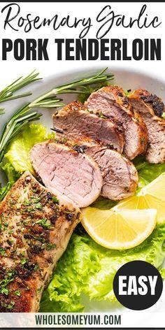 Rosemary Garlic Keto Pork Tenderloin Recipe - The juiciest baked pork tenderloin recipe ever! Rosemary garlic pork tenderloin uses a quick marinade and takes 20 minutes start to finish. Garlic Pork Tenderloin Recipe, Rosemary Pork Tenderloin, Pork Tenderloin Marinade, Cooking Pork Tenderloin, Roasted Pork Tenderloins, Healthy Pork Tenderloin Recipes, Pork Roast, Real Food Recipes, Cooking Recipes