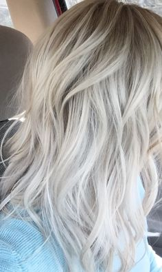 Ice blonde color with baby lites at root