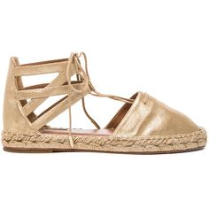 Aquazzura Belgravia Flat Suede Espadrilles (54925 RSD) ❤ liked on Polyvore featuring shoes, sandals, flats, lace up sandals, metallic flat sandals, platform sandals, lace up flat sandals and suede flats