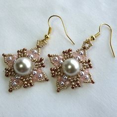 Earrings Hand woven Swarovski Pearls and by ValleyBeading on Etsy