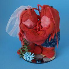 Lobster bride and groom in kilt wedding cake topper