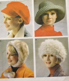 Vintage Sewing Pattern 1970s Fashion Hats by BluetreeSewingStudio, $10.00