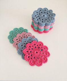 Set of 4 Crocheted Coasters Crochet Coaster Crochet от Marceknit