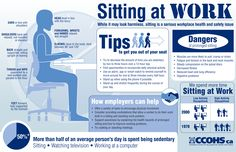 Canadians are spending more time sitting at work in low activity jobs. Share this infographic with guidance on how to work in comfort when seated, and tips to help get you out of your seat.