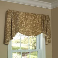The Verona Valance features a flat underlay and luxurious cascades. Choose a fabric with a lovely motif for the center, and it will be framed with the soft gathered cascades. Your fabric choice can give this valance a traditional or transitional style. Image: calicocorners.com