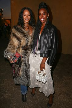 Rihanna and Kelly Rowland attends the Christian Dior Cruise 2018 Runway Show at the Upper Las Virgenes Canyon Open Space Preserve on May 11, 2017 in Santa Monica, California.
