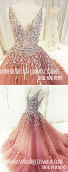 Beading V Neck Tulle Beautiful Popular Elegant Evening Long Prom Dresses, WG1095