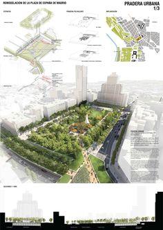 Estas son las propuestas que compiten para remodelar la Plaza España en Madrid,Pradera urbana. Image © Difusión Ayuntamiento de Madrid