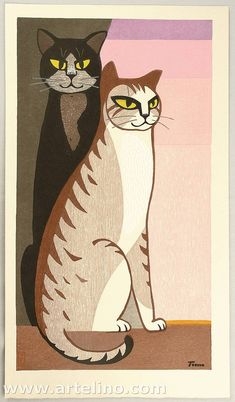 Cats at the Dawn  by  Inagaki Tomoo    1972