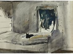 Andrew Wyeth - Christina's Bedroom.   This scene depicts a room on the second floor of the Olson's house. The window also appears in Wyeth's work Weatherside.