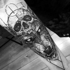 wolf, skull, arm tattoo, tattoo for man