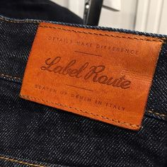 """Hot printed leather label made by Panama Trimmings for """"Label Route"""""""
