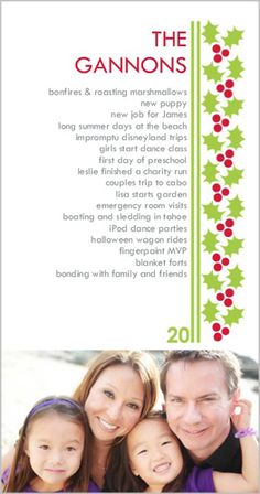 Christmas card with highlights of the past year