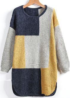 Sheinside offers Yellow Grey Long Sleeve Plaid Loose Sweater & more to fit your fashionable n. Loose Sweater, Poncho Sweater, Pullover Shirt, Plus Size Sweaters, Yellow Sweater, Sweater Fashion, Crochet Clothes, Pulls, Types Of Sleeves
