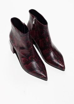 & Other Stories image 2 of Embossed Leather Ankle Boots in Burgundy / Snake
