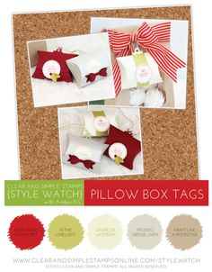 Pillow Box Tags | SW | Clear and Simple Stamps | Creative Die Cutting for Gift Tags | Party Favor 15 | Partial Tag Dies