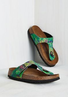 Landscape Consultation Sandal in Tropical by Birkenstock - Green, Multi, Floral, Casual, Beach/Resort, Safari, Statement, Best,…