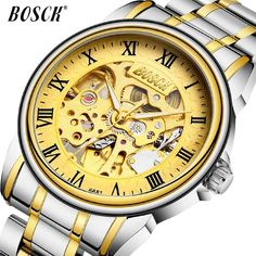 2018 New Fashion Men Mechanical Watch BOSCK Golden Top Brand Luxury Steel Automatic Classic Skeleton Wristwatch BEST Gift. Yesterday's price: US $13.75 (11.84 EUR). Today's price: US $13.75 (11.87 EUR). Discount: 54%. Rolex Watches, Watches For Men, Skeleton Watches, Mechanical Watch, Automatic Watch, Luxury Branding, Omega Watch, New Fashion, Best Gifts