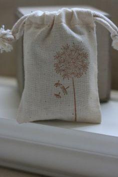 muslin gift bags DANDELIONS in SepiA x10 wedding by papermoonbyKAT, $12.00