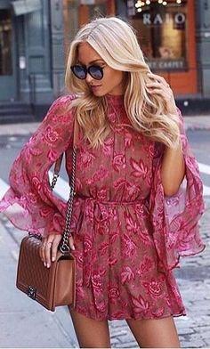 #summer #outfits Pink Lace Dress + Camel Leather Shoulder Bag