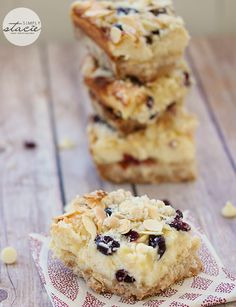 An easy and delicious recipe for White Chocolate Cranberry Cheesecake Bars.