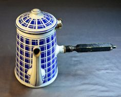Rare French Blue and White Enamelware Chocolate Pot