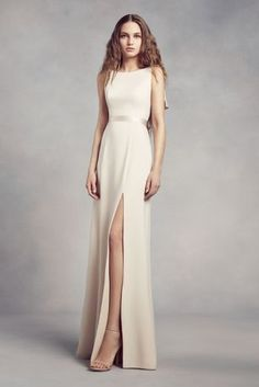A sleek dress for modern \'maids, this high-neck bridesmaid dress from White by Vera Wang is adorned with cascading ruffles at the low-dipped back. A satin sash finishes the look. White by Vera Wang, High Neck Bridesmaid Dresses, Bridal Dresses, Prom Dresses, Formal Dresses, White By Vera Wang, Davids Bridal, Ladies Dress Design, Evening Gowns, Marie