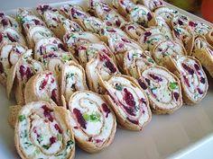 Feta cream cheese, green onion and cranberry pinwheels