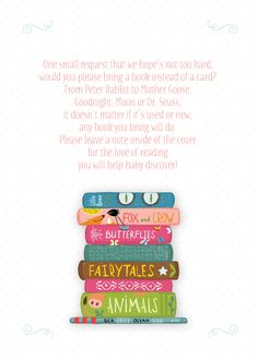 Adorable Book Design Baby Shower Insert Card with Sweet Poem | CatPrint Design #1091