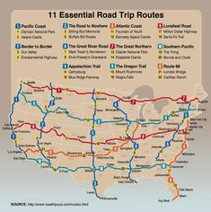Eleven must-do road trips in the US...I've been to a few of these; most of trip 1, all of  8, 11 & 10, Would love to do 7 &  6. And I have done the Texas part of 3.