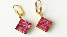 Pink Crystal Rhinestone Earrings Art Deco Earrings Swarovski